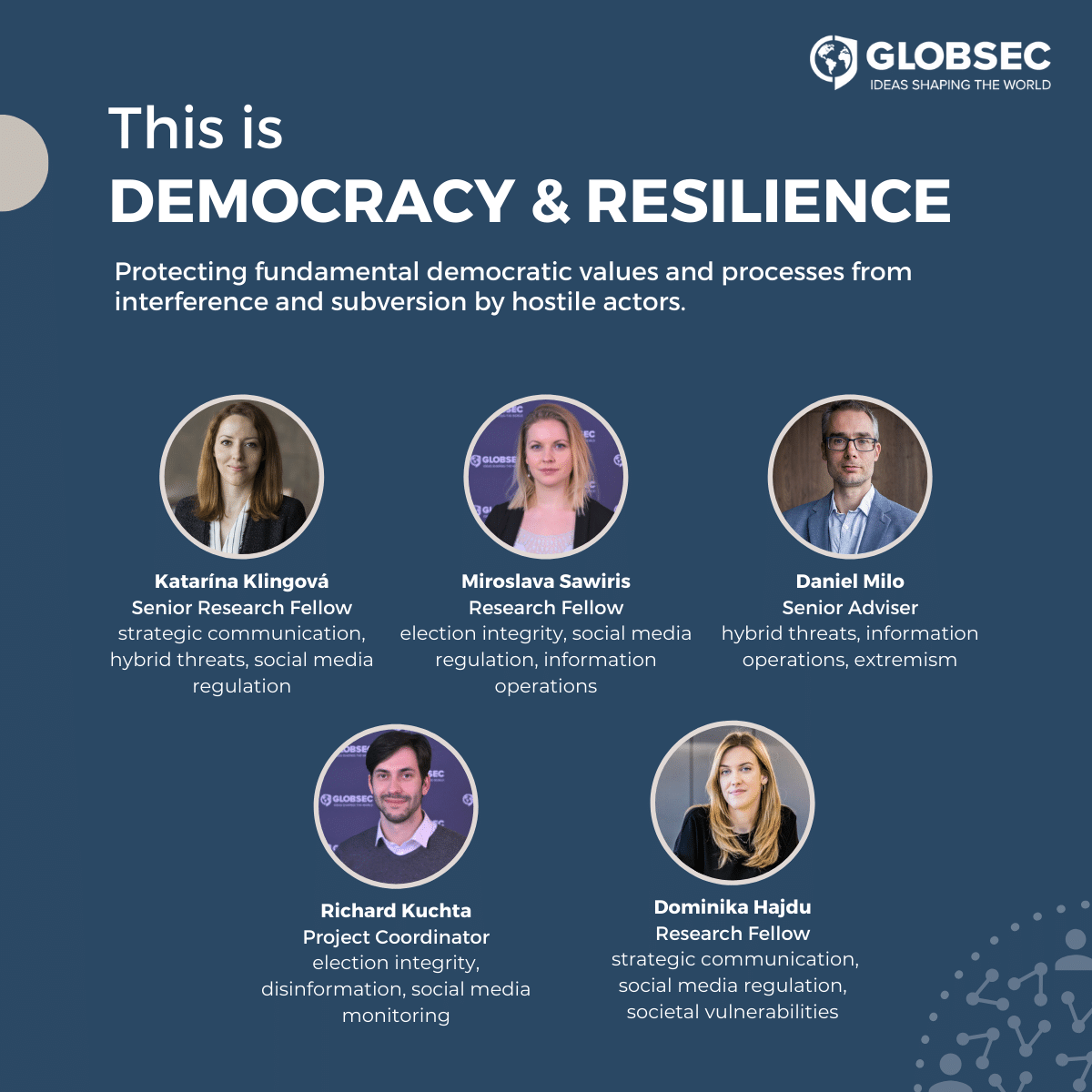 Members of GLOBSEC's Democracy & Resilience programme